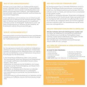 Flyer für das Anreizprogramm für private Immobilien im Fördergebiet ´Stadtzentrum Lorsch´